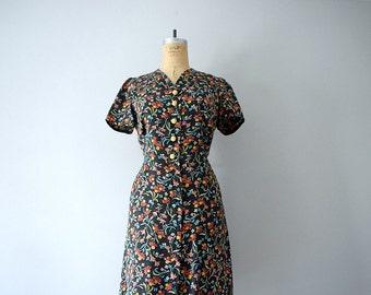 30s 40s dress . dark floral print dress . vintage dress
