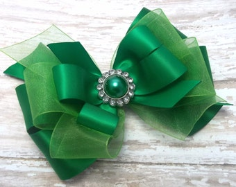 Large Green Satin Dressy Hair Bow, Green Satin Hair Bow, Green Satin Hair Clip