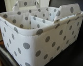 "LG Long Diaper Caddy 8"" x 12"" x 6""(choose COLORS)""One Divider -Baby Gift-Fabric Storage Organizer-Polka Dot-""Grey Polka Dots on White"""