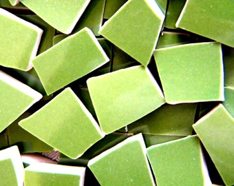 GRASS Green - Solid Color Mosaic Tiles - Recycled Plates - 50 Tiles