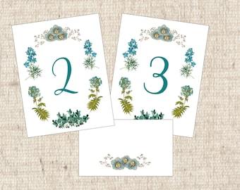 Vintage Blue Table Numbers, Table Cards, Vintage Floral Seating Cards, Blue Table Tent Cards, Blue Flower Table Numbers, Floral Table Cards