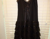 Vintage Betsy Johnson Lace Dress Body Con 10 Black Satin Ribbon Trim Sequins Tiered Bustier Dress Lined