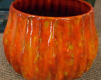 Vintage 1960's Large POTTERY BOWL or PLANTER- Large Size- Mid Century- Great Fall Colors