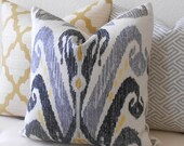 Gray and yellow ikat pillow, Nate Berkus Kopacki decorative pillow cover