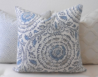 CLEARANCESALE Gray and blue medallion linen floral decorative pillow cover