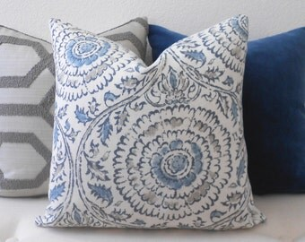 CLEARANCESALE Double Sided, Gray and blue medallion linen floral decorative pillow cover