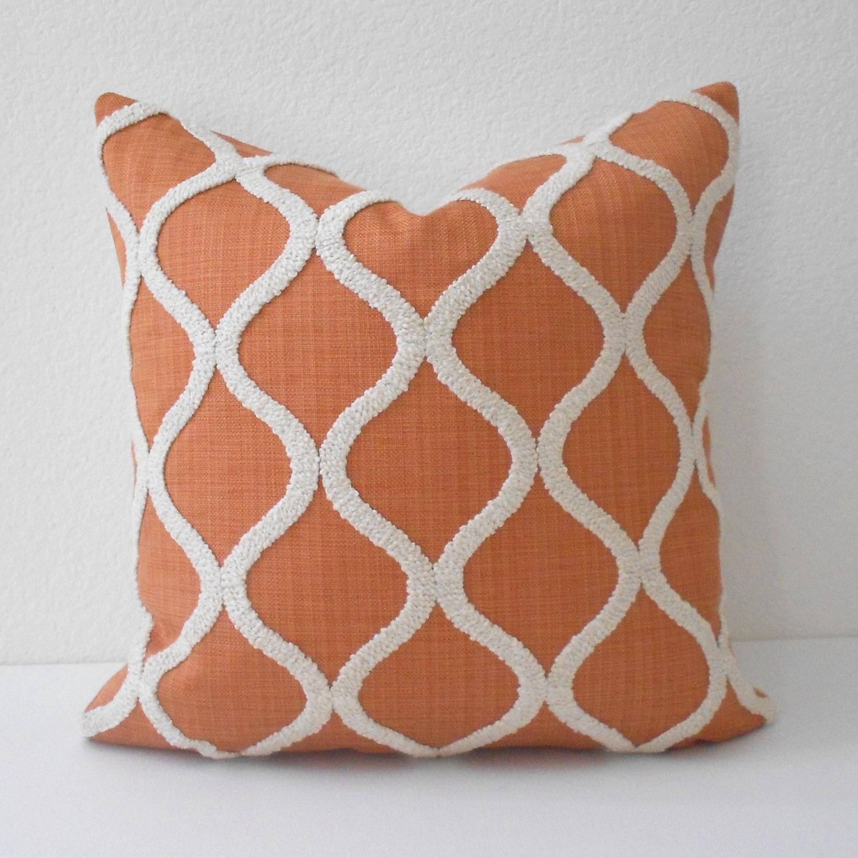 Orange and cream tufted trellis decorative pillow cover