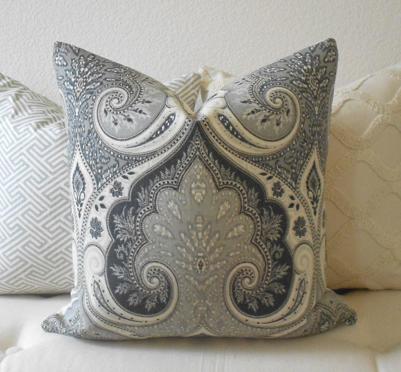 Charcoal Grey Decorative Pillows : Gray Kravet Latika charcoal gray decorative pillow cover