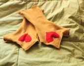 Mustard Yellow Sweater Heart Fingerless Hand Warmer Gloves