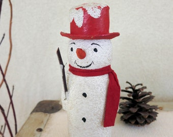 Antique German Paper Mache Candy Container - Snowman with Red Hat and Real Stick - Country Farmhouse Winter Decor - Christmas Decoration
