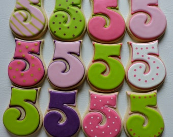Number 5 Hand decorated sugar cookies for Birthdays (#2455)