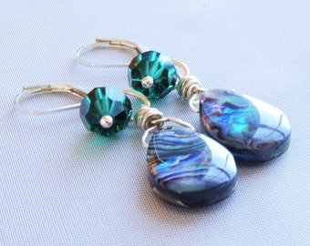 Abalone Jewelry Dangle Earrings Wire Wrapped Jewelry Abalone Earrings Shell Emerald Green Swarovski Crystal Sterling Silver Jewelry
