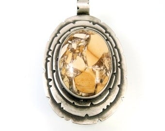 Sterling Silver, Oval Pendant, Brecciated Mookaite, Cabochon Jewelry, Mookaite Jewelry, Mookaite Pendant, Cabochom Jewelry, Gemstone, 1055