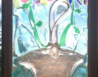 """10 1/2""""x16"""" recycled glass 2 flower mosaic"""