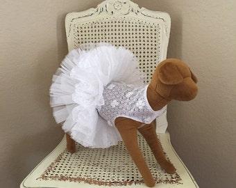 Sweet Petals Dog Dress, White