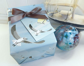 Flying Seagull Gift Wrapping Paper Set - Seaside, Father's Day, Birthday