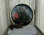 Retro Georgia State Plate - Vintage Souvenir State Trays, Kitsch Kitchen Decor, Black Home Decor, State Plate Wall Art, The Peach State Tray