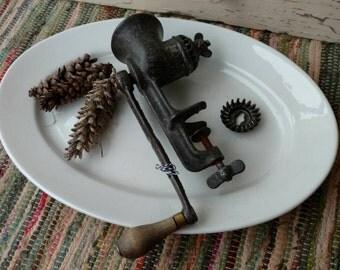 Antique Meat Grinder - Vintage Heavy Metal Meat Mincing Machine, Old Hand Crank Grinder, Applesauce Maker, Prim Kitchen Tool + Kitchen Decor