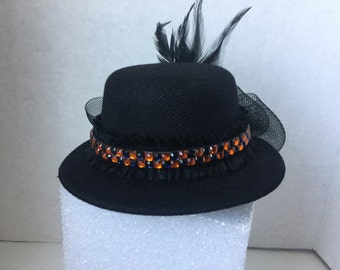 Hat, Fascinator,Black Mardi Gras Fascinator, Mardi Gras Black Mini Hat,  Mardi Gras Hat, Costume Hat