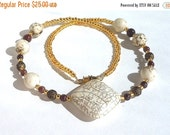 Clearance Sale Jasper Gemstone and Brass Filigree Bead Necklace with Gold Seed Beads and a Barrel Clasp - OOAK