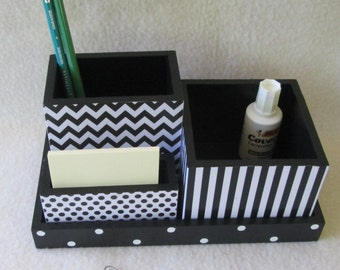 Office or Home Organizer - Desk Organizer - Desk Set - Black Chevron -  Black Stripes -  Black and White Polka Dot - Decoupaged - Gift