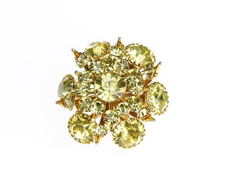 Pale Yellow Jonquil Crystal Rhinestone Gold Tone Crown Vintage Brooch