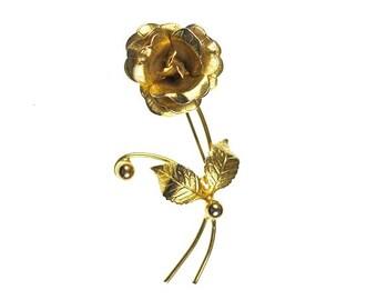 Vintage Long Stem Rose Brooch Detailed Gold Tone Elegant Flower Pin