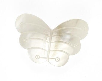 Vintage White Moth or Butterfly Brooch Carved Mother of Pearl Pin