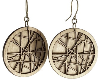 SIREN | nature inspired, twiggy earrings, nature inspired twig earrings, intersecting lines: laser cut wood earrings