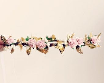 Pink and Gold Floral Crown, flower crown, Woodland, Autumn Flower Crown, fall, wedding, Bridal, Bridal Headpiece, pink wedding