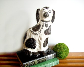 Staffordshire Style Dog Statue, Vintage French Figurine, Black and White Spaniel, Neo Trad Decor