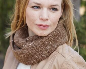 Hand knit women cowl brown autumn trends rustic woodland brown OOAK tweed