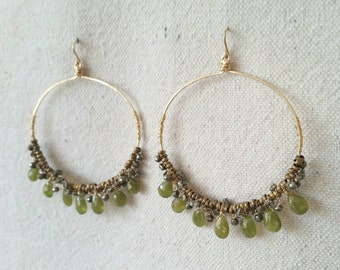 Nola . Faceted Vessonite Teardrops, Pyrite, Brass and 14k Gold Fill Hoop Earrings
