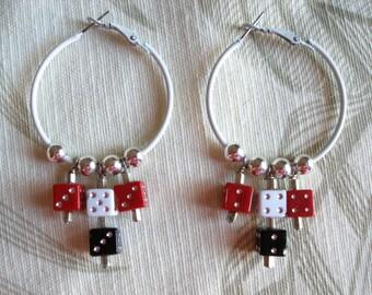 Vegas Style Dice Hoop Earrings, Red n Black, Hotrod Rockabilly Womens Earrings ON SALE