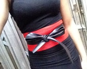 XL Red and black genuine leather obi belt, corset belt,wrap on belt, japanese style belt, waist cincher