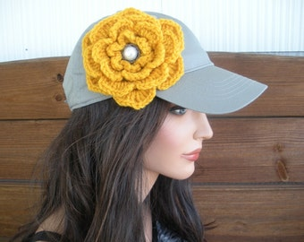 Womens Hat Baseball Hat Cap Fashion Accessories Women Baseball Sport Hat in Gray with Gold Crochet Flower