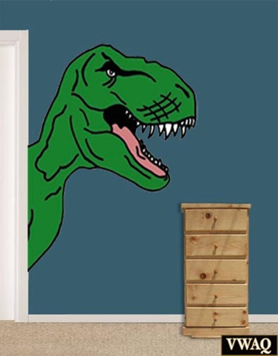 Dinosaur t rex wall decal kids wall decor corner room big for T rex bedroom decor