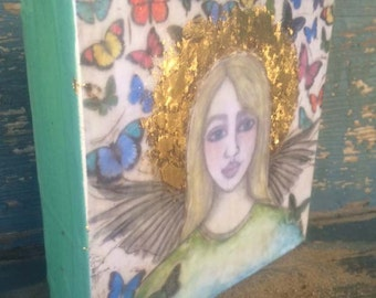 Angel Encaustic Butterfly Canvas 2