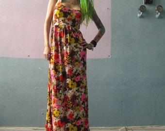 Vtg 60s Maxi Floral Dress