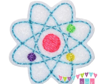 Atom - Brite Pastels on White Felt Embroidered Embellishment Clippie Cover SET of 4