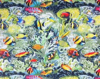 Tropical Fish Fabric by the yard, Choral Reef, 100% Cotton, Timeless Treasures