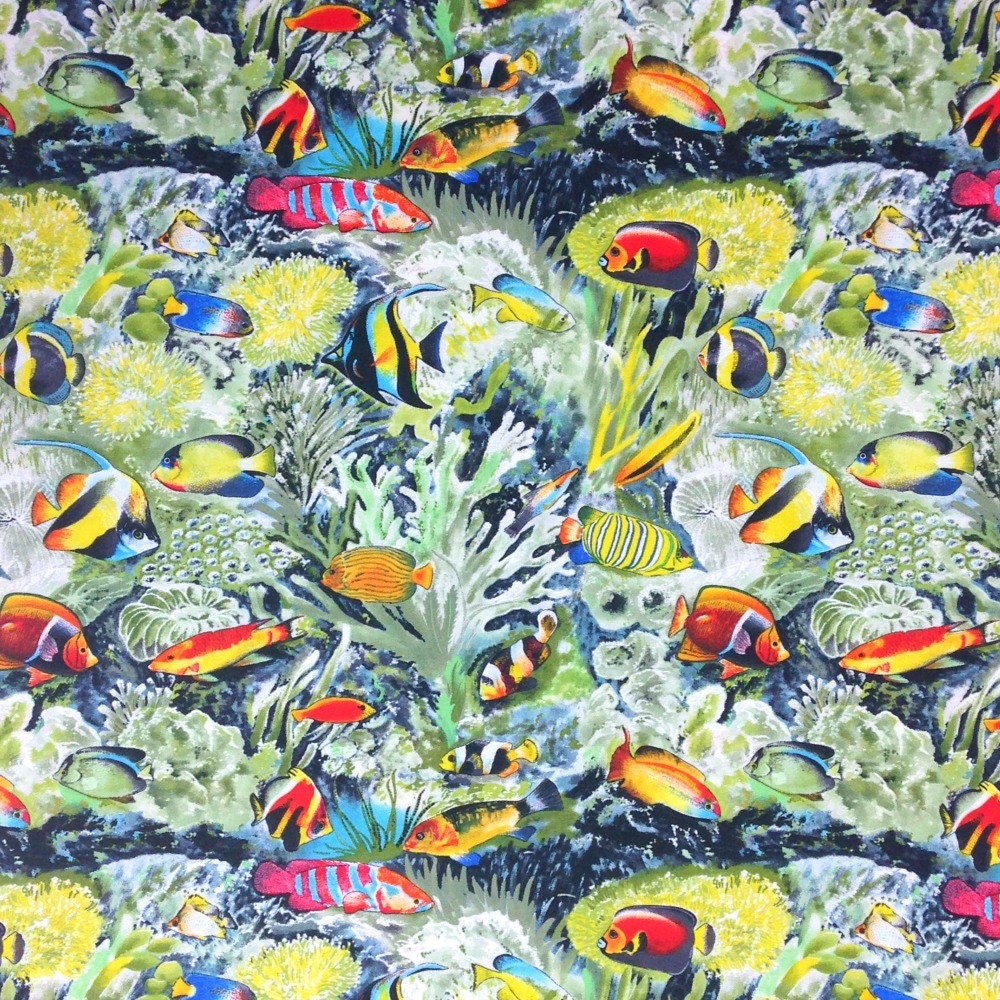 Tropical fish fabric by the yard choral reef 100 cotton for Fish fabric by the yard