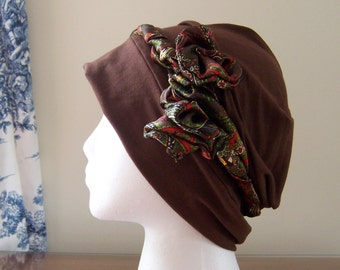 Women's Chemotherapy Turban in Brown Knit with Paisley Rosette Headband, Easy to Wear, Soft and Comfortable, Gift for Cancer Patient