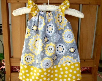 baby dress baby girls clothing grey and yellow dress girls dress childrens clothing baby dress