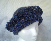 Crocheted Hat Slouch beanie Cap toque Chunky blue grey beannie cap Knit natural Merino wool cloche CT004