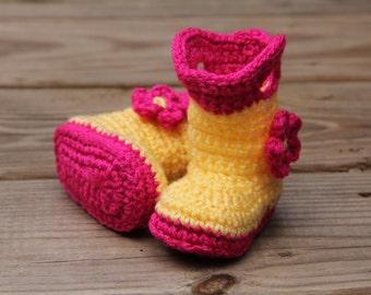 Baby Galoshes, Baby Rain Boots, Crochet Galoshes, Crochet Rain Boots, Baby Boots, Galoshes, Yellow Galoshes, Pink Galoshes, Girls Rainboots