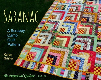 Saranac Quilt Pattern, Scrap Quilt Pattern, Twin Quilt, Instant Download, pdf