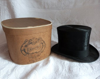 Antique French beaver top hat Gibus w traveling hat box black opera steampunk top hat antique victorian mens top hat w stamp luggage hatbox