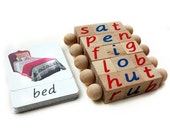 Block & Card Set, Montessori Phonetic Reading Blocks with Matching 3-Part Cards - Eco Friendly Educational Materials