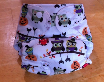 One Size Pocket Cloth Diaper with 1 insert made from PUL Halloween owls fabric for 8 lbs to 30 lbs - in stock